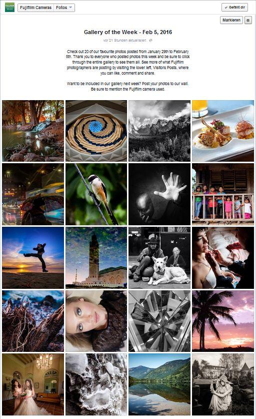 Jede Woche präsentiert FujiFilm die 20 schönsten, zugesendeten Bilder und in dieser Woche durfte ein Bild aus der FotoSynergie dort eine Premiere feiern.